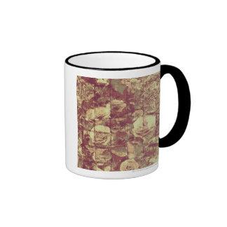 Rose camouflage pattern on tiled wall background ringer coffee mug