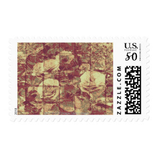 Rose camouflage pattern on tiled wall background postage