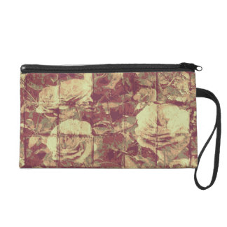 Rose camouflage pattern on tiled wall background wristlet purse
