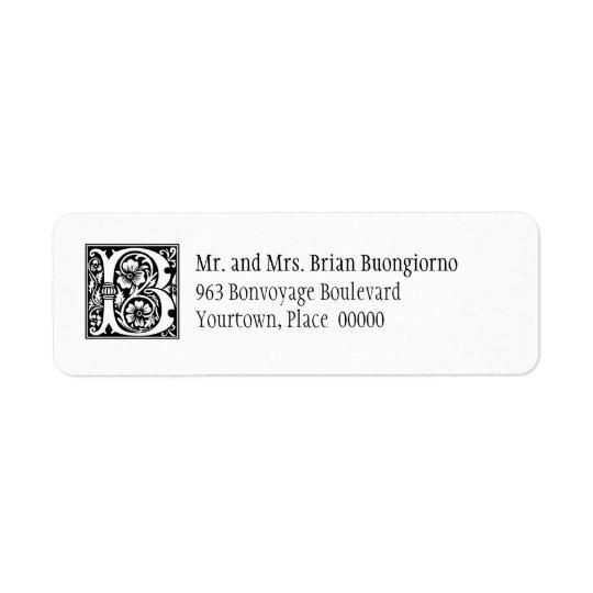 Rose Capital B Monogram Return Address Label