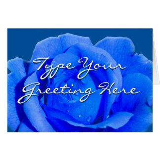 Rose Cards Blue Flowers Custom Greeting Card