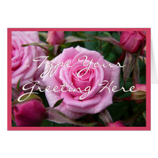 Rose Cards Pink Flowers Custom Greeting Card