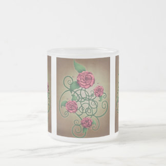 Rose Cartouche 10 Oz Frosted Glass Coffee Mug