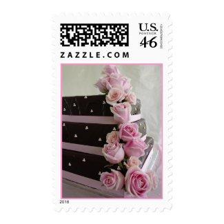 Rose cascade wedding cake stamp
