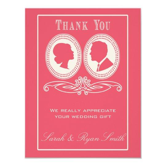 Rose Chevron & Script Wedding Thank You Cards