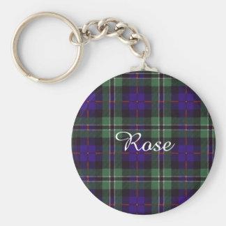 Rose clan Plaid Scottish tartan Basic Round Button Keychain