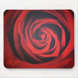 Rose closeup with initials mouse pad