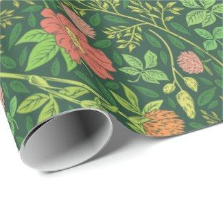 Rose & Clover Green Garden Print Wrapping Paper