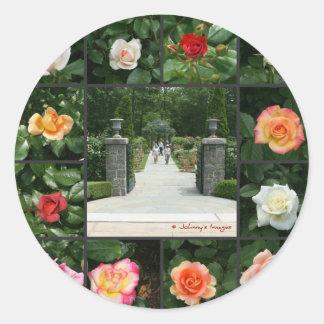 Rose collage classic round sticker