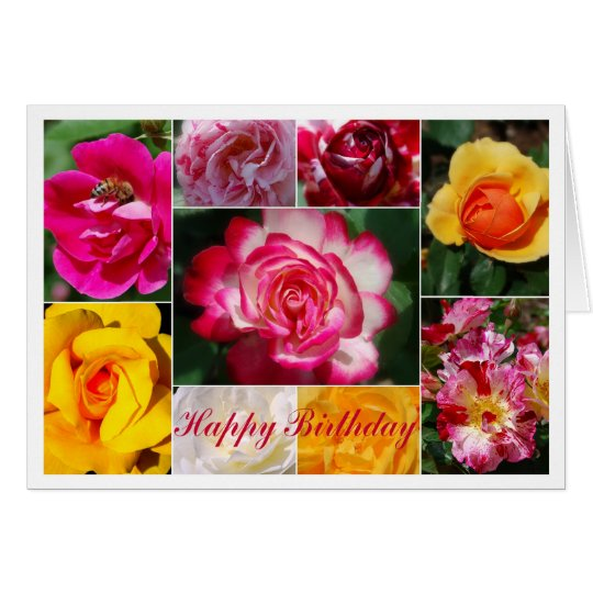 Rose Collage Happy Birthday Card