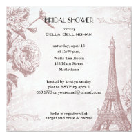 Rose Colored Eiffel Tower Bridal Shower Invitation