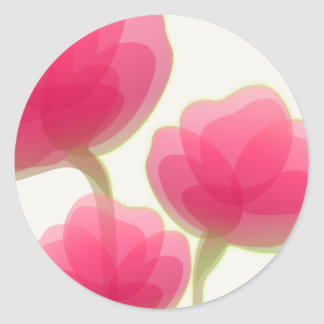 Rose Colored Flowers Classic Round Sticker