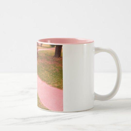 Rose colored glass Two-Tone coffee mug