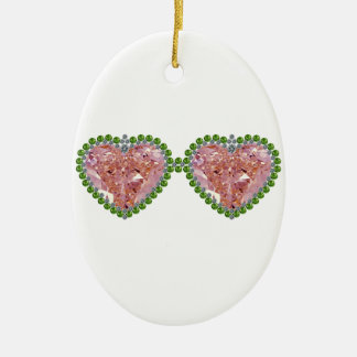 Rose Colored Glasses Ceramic Ornament