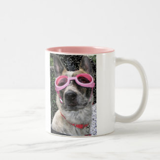 Rose Colored Glasses in a Doggy World Two-Tone Coffee Mug