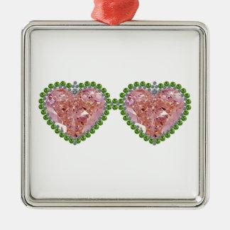 Rose Colored Glasses Metal Ornament