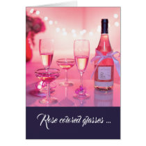 Rose Colored Glasses Thank You Card, Customizable Card