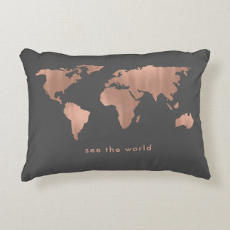 Rose Colored World | Map on Smoky Gray Accent Pillow