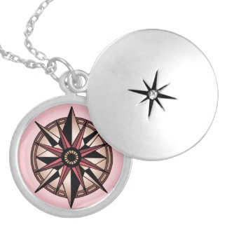rose compass star silver plated necklace