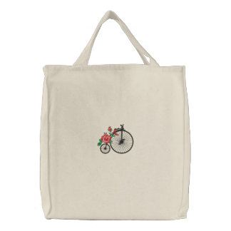 Rose Covered Antique Bicycle Embroidered Bag