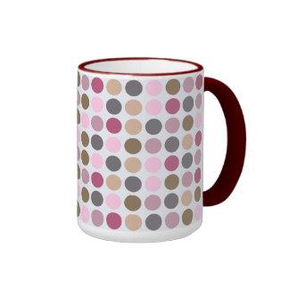 Rose Cream Pink Brown Polka Dot Pattern Coffee Mug