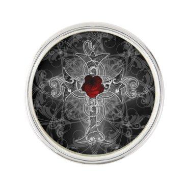 Halloween Themed Rose Cross Goth Art Lapel Pin