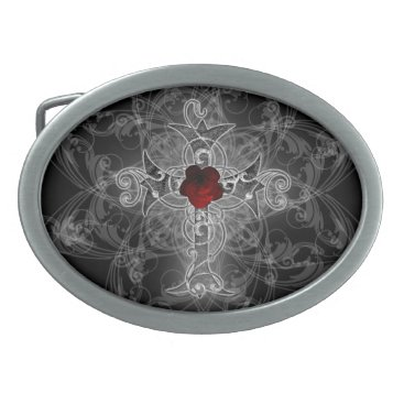 Halloween Themed Rose Cross Goth Art Oval Belt Buckle