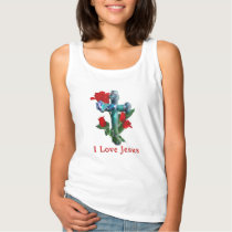 Rose Cross womans clothing Tank Top