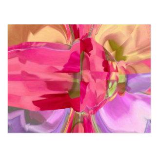 Rose Crystal - RedRose PinkRose Bud n Petal Post Card