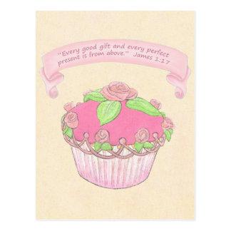 Rose Cupcake~Good Gift Scripture Postcard Print