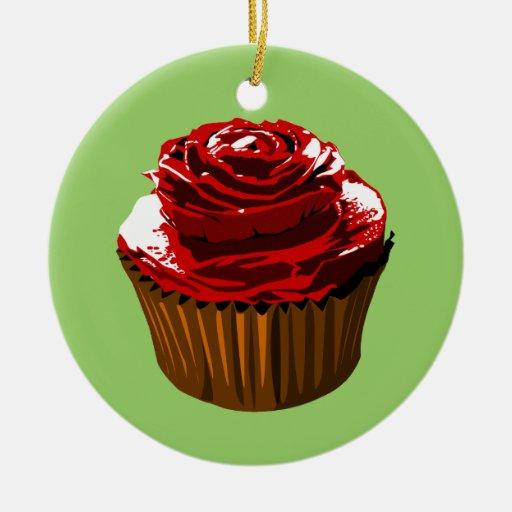 Rose cupcake ornament
