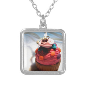 Rose Cupcake Silver Plated Necklace
