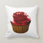 Rose cupcake throw pillows