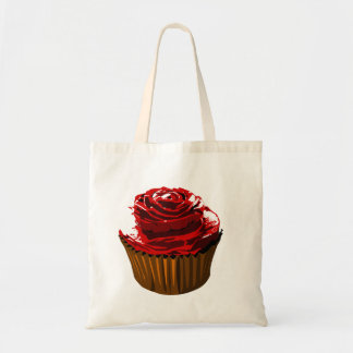 Rose cupcake tote bag