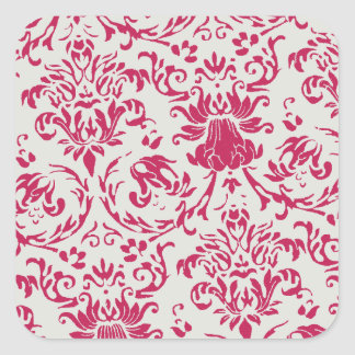 Rose Damask Square Stickers