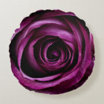 "Rose Dark Plum Round Pillow<br><div class=""desc"">Intense coloured rose petals of a purple plum colour. A really stand out design for lovers of purple. The individual petals are easily seen.Gorgeous and can be teamed with many different colour schemes. Ideal for Wedding or Bridal Shower gifts, Anniversary's, or just to say I love you to that special...</div>"