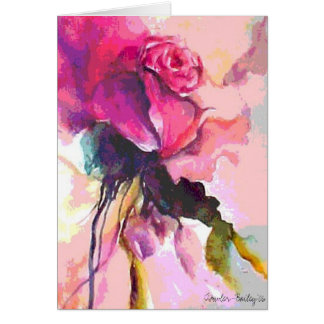Rose de Amour, Watercolor Rose Card & Postage