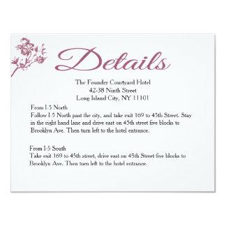"Rose Delight! Pink Burgundy Details Wedding Card 4.25"" X 5.5"" Invitation Card"