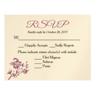 Rose Delight! Pink Burgundy RSVP Response Postcard