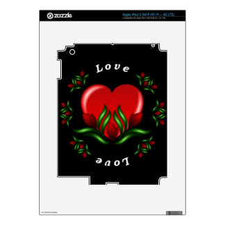Rose Design With Words Saying Love In White Text Decals For iPad 3