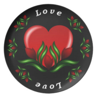 Rose Design With Words Saying Love In White Text Dinner Plate