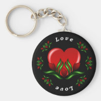 Rose Design With Words Saying Love In White Text Keychain
