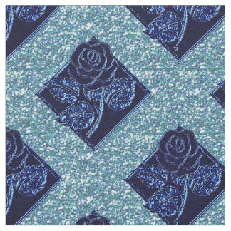 Rose Diamonds-07 Two Toned Blue-Zazzle Fabric