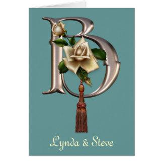 Rose Elegance Monogram B Greeting Card
