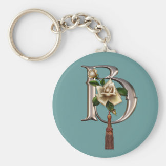 Rose Elegance Monogram B Key Chains