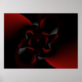 Rose Emerging From Darkness - Fractal Design Poster