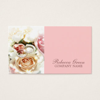 rose engagement rings wedding photographer business card