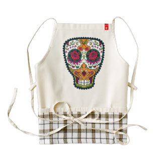 Rose Eyes Orange White Sugar Skull Zazzle HEART Apron