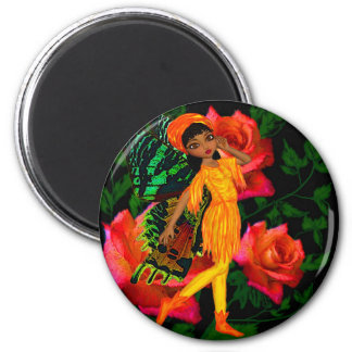 Rose Fairy 2 Inch Round Magnet