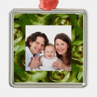 Rose/ Family Photo Metal Ornament